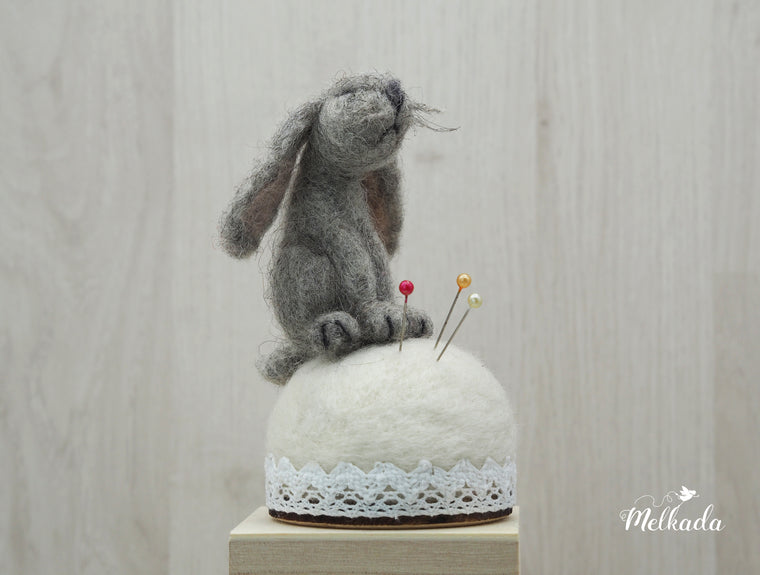 Rabbit pincushion, Felted rabbit, Rabbit figurine, Gift for a seamstress