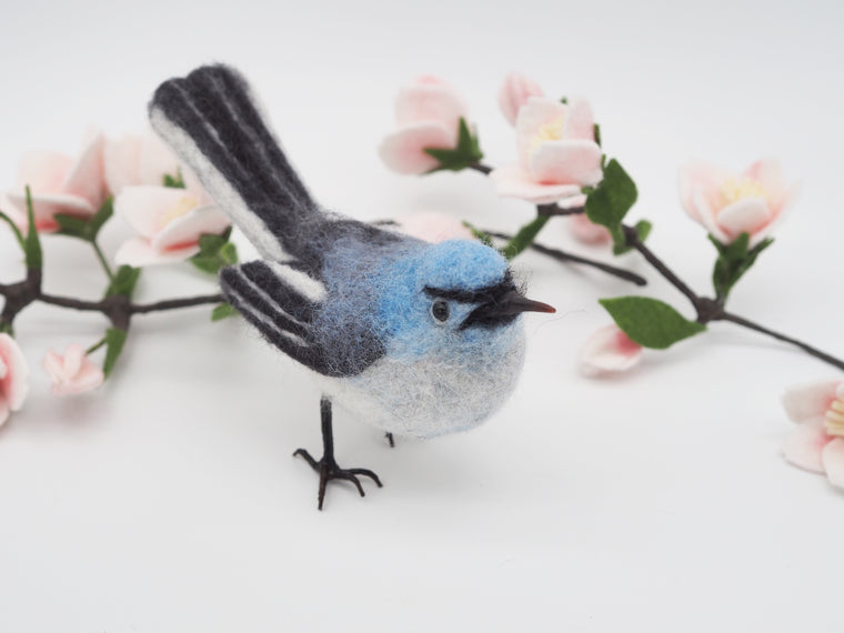 Blue-gray gnatcatcher,Needle felted bird, Faux taxidermy bird