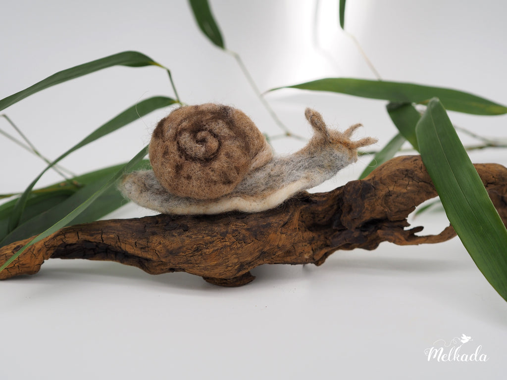 Needle Felted Snail, Snail Sculpture, Snail Ornament