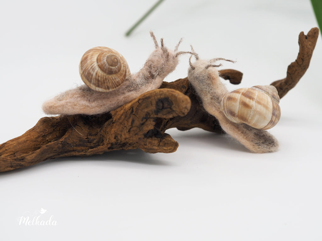 Needle Felted Snail decoration, Snail Sculpture