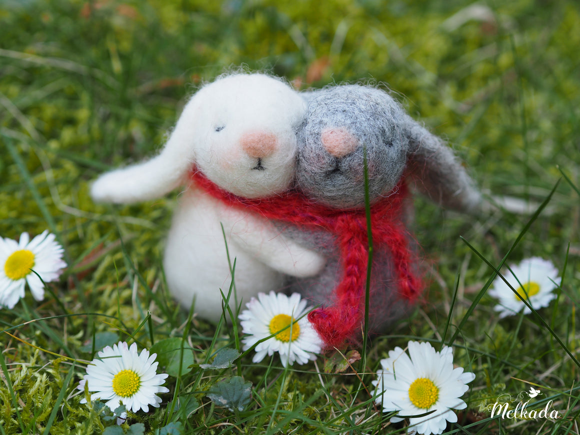 Needle felted bunnies, Twin baby gift, Baby shower gift