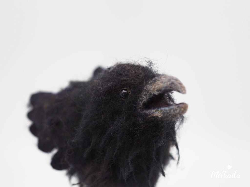 Needle felted Raven, Felted bird, Faux taxidermy bird