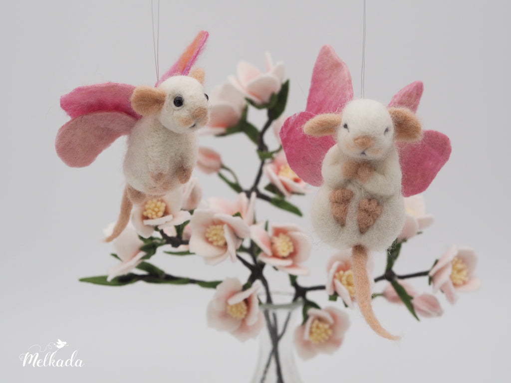 Butterfly needle felted mouse, Felted sleeping mouse, Fairy mouse