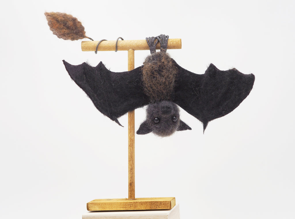 Needle felted bat- baby bat - cute bat - Halloween decor