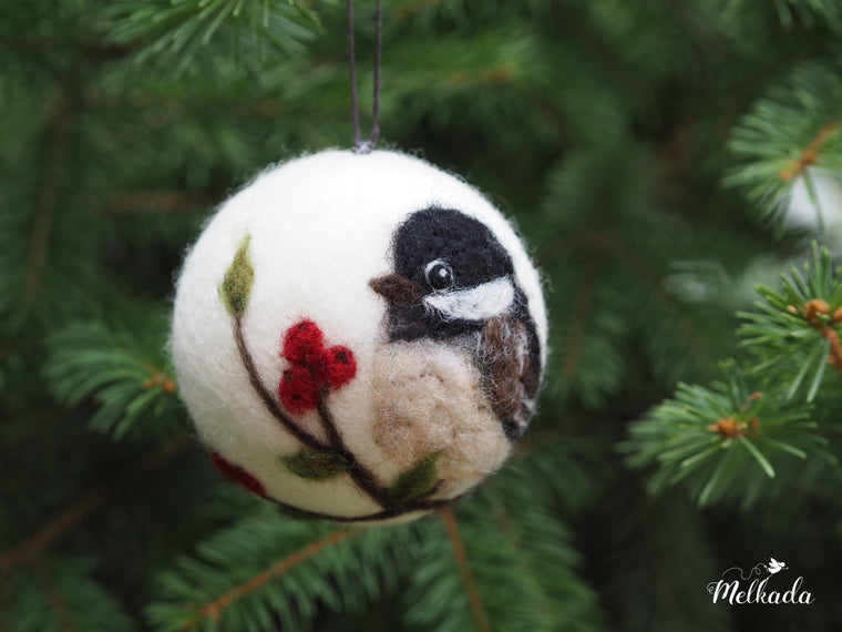 Christmas ball with Chickadee motif - needle felted Christmas ornament - Christmas gift
