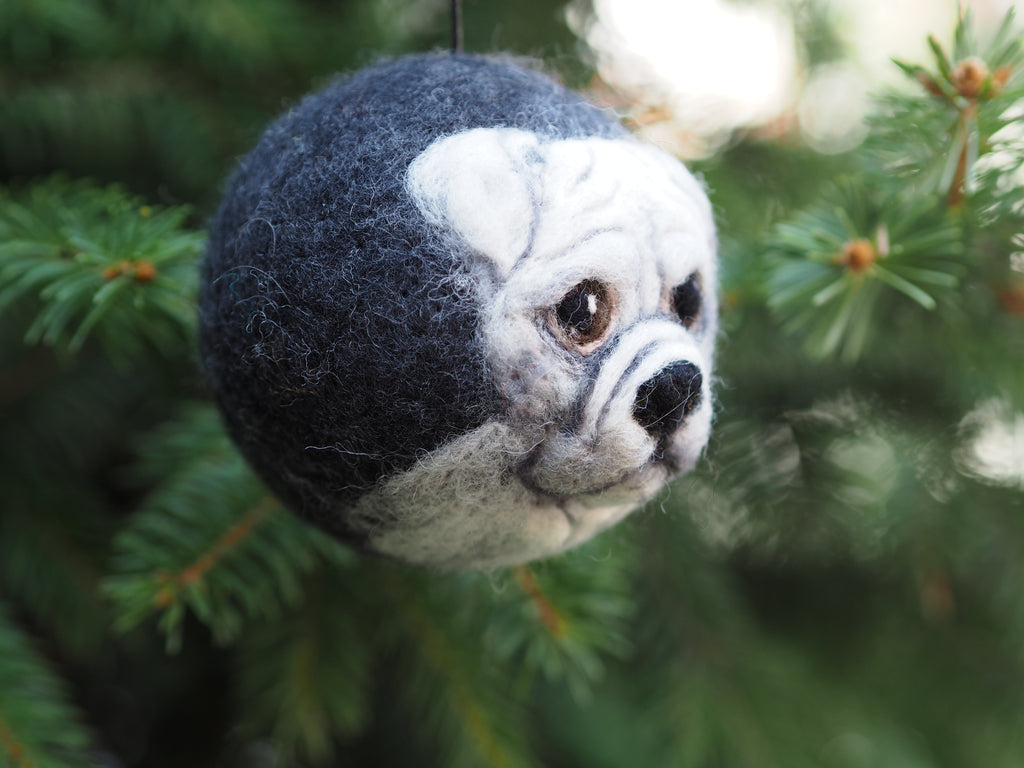 Custom made Christmas pet ornament, felted Christmas ball, pet memorial