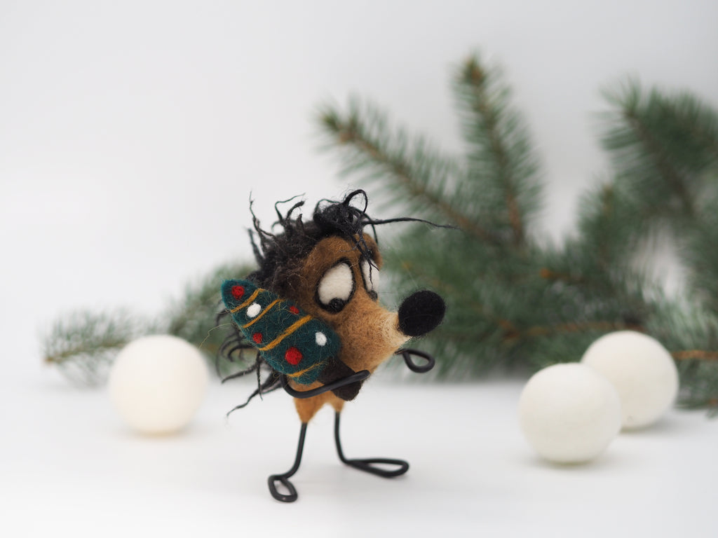 Hedgehog ornament, felted hedgehog figurine