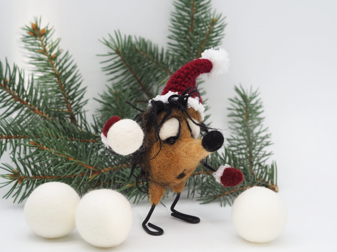 Felt hedgehog Christmas ornament, collectible figurine