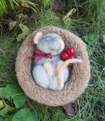 Sleepy mouse- needle felted mouse - Christmas decor