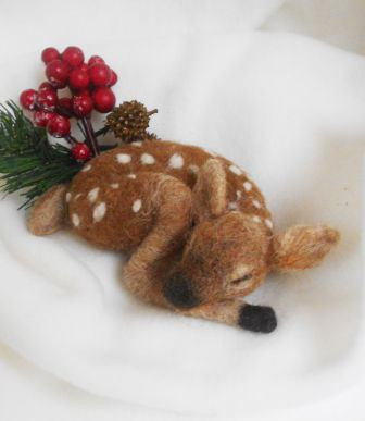 Woodland nursery decor, Woodland animals, Needle felted fawn, Christmas decor
