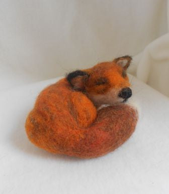Sleeping fox - needle felted fox, felted gift