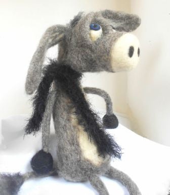 Sad Donkey - animal decor - needle felted donkey - handmade gift