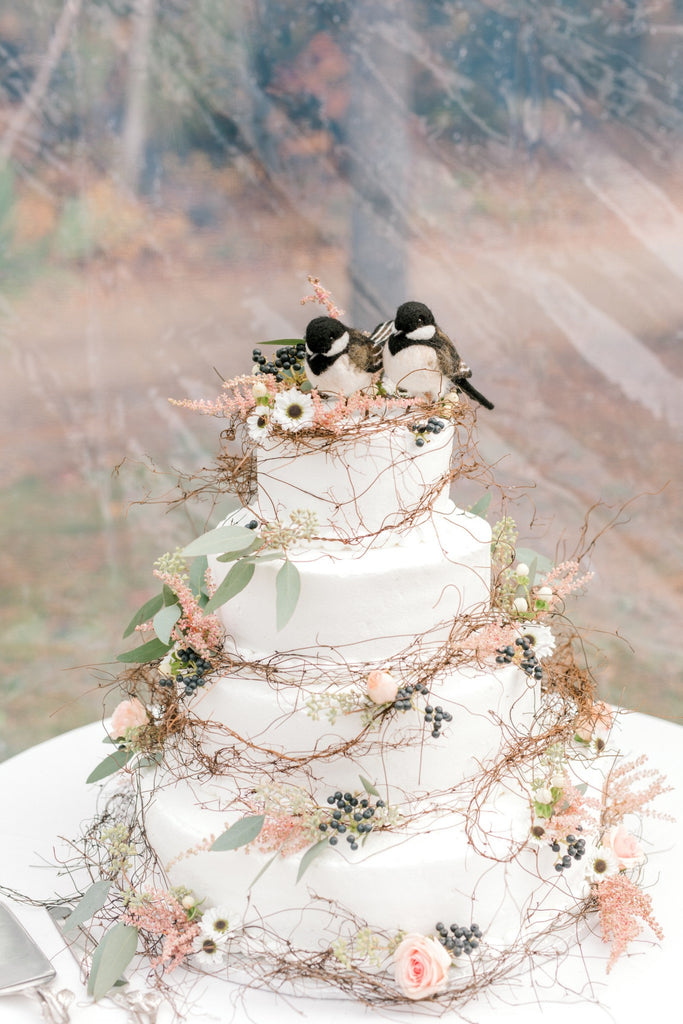 Bird cake toppers for wedding, wedding cake topper birds, realistic chickadee pair