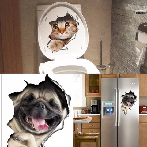 3-D CAT & DOG DECAL STICKER