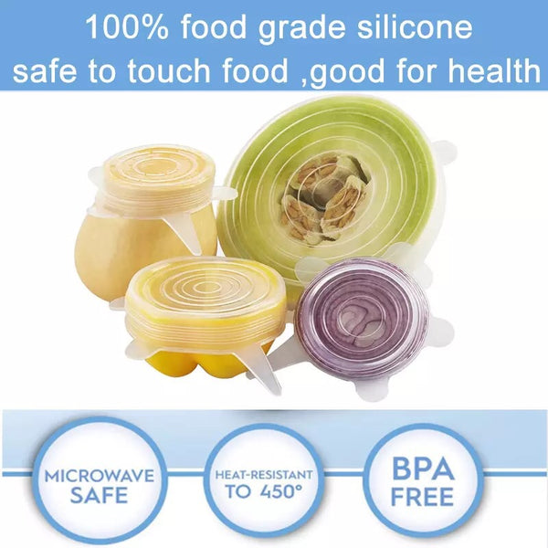 6Pcs/ Set Universal Stretch Lids