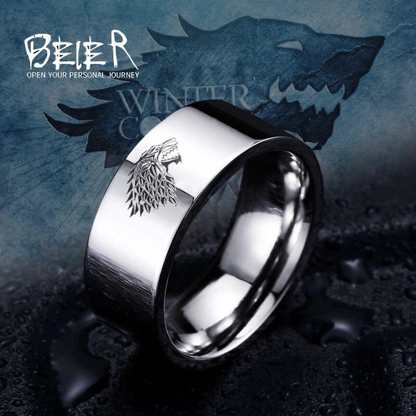 Stainless Steel Ring Ice Wolf House Stark of Winterfell Mens Ring