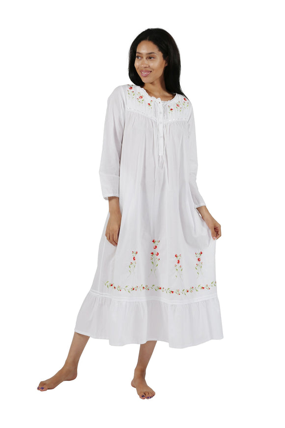 Rose Embellished Cotton Gown