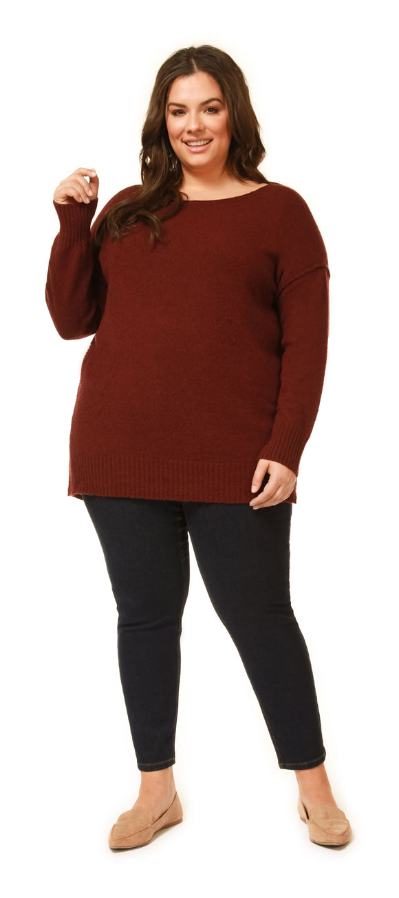 Long Sleeve Asymmetric Hem Sweater Top