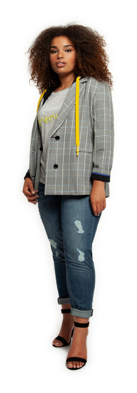 Plaid Blazer w/removable Hood