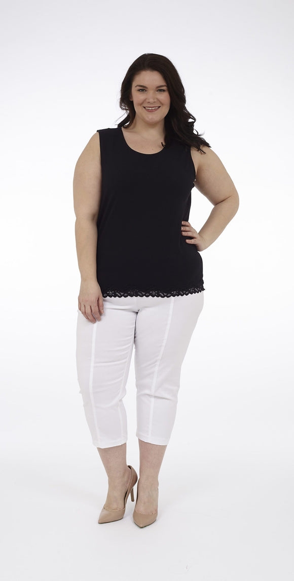 Scoop Neck Tank with Lace Trim around Hem