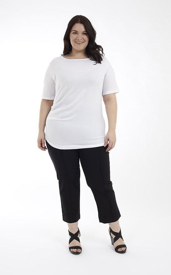 Elbow Sleeve Top with Side Ruching