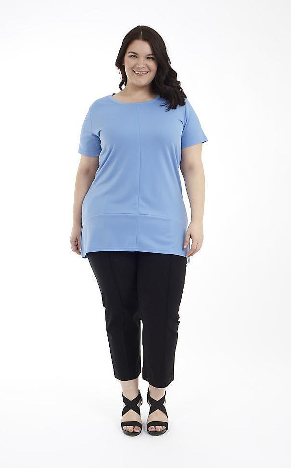 Short Sleeve Tunic with Cut & Sew Details and Side Slits