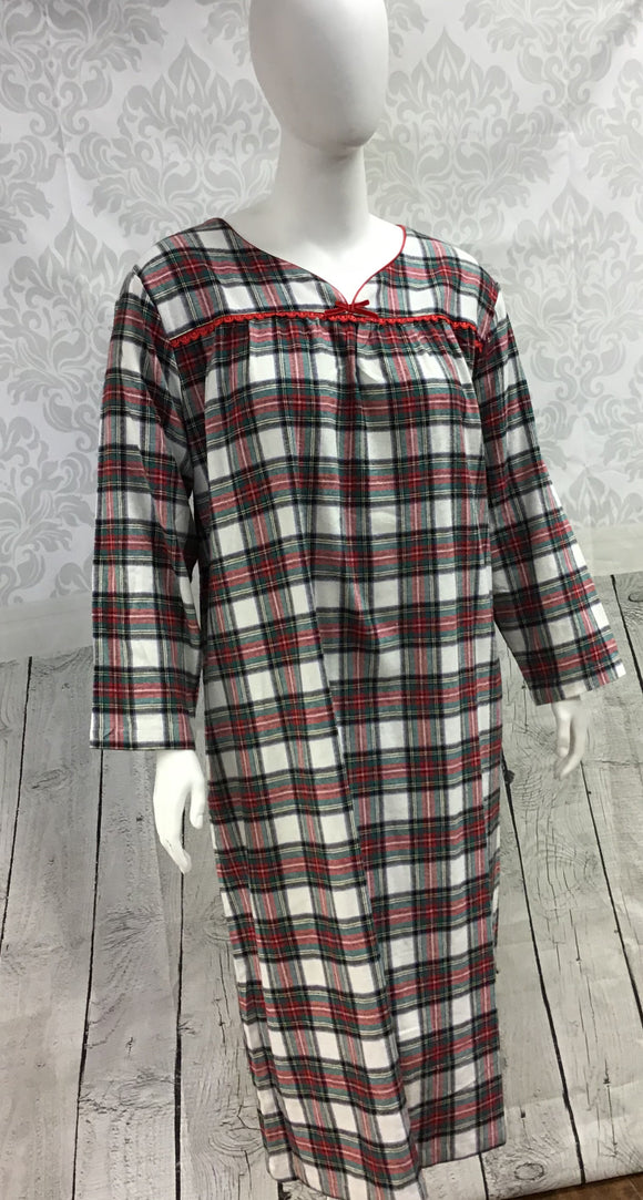 Flannel Long Gown - Red Plaid