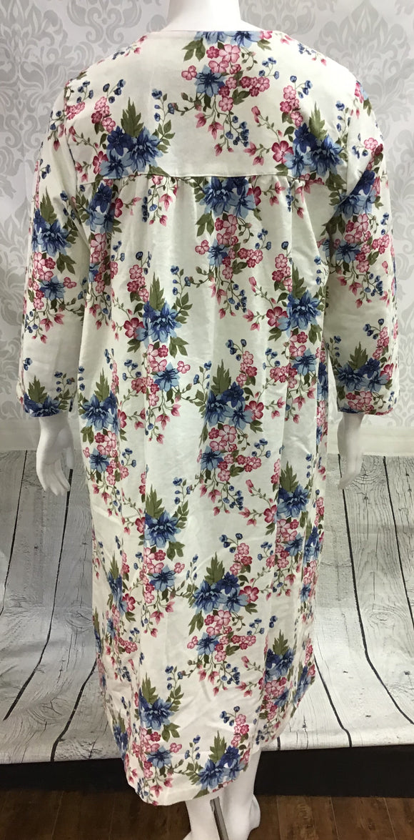 Flannel Long Gown - Flowers
