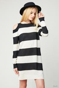 Striped Cold Shoulder Sweater Dress