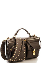 Black Edgy Rock Stud Cross Body