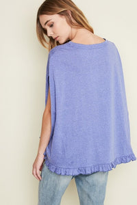 Blue Ruffle Swing Top