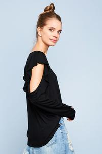 Black Long Sleeve Ruffle Cold Shoulder