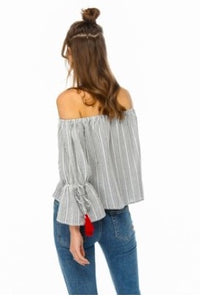 Bell Sleeve Top with Tassels