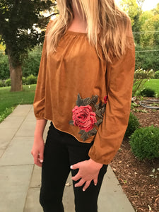Floral Appliqué Off Shoulder Top