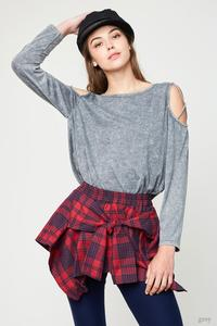 Grey Criss Cross Long Sleeve