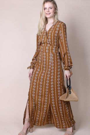 BURNT UMBER MAXI | long sleeve dress