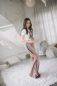 STRIPED MULTI COLOR | flare stretch pant