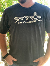 "male model is wearing a ""large"" Las Cruces New Mexico, Organ Mountains and Zia Symbol T Shirt, Fundraiser"