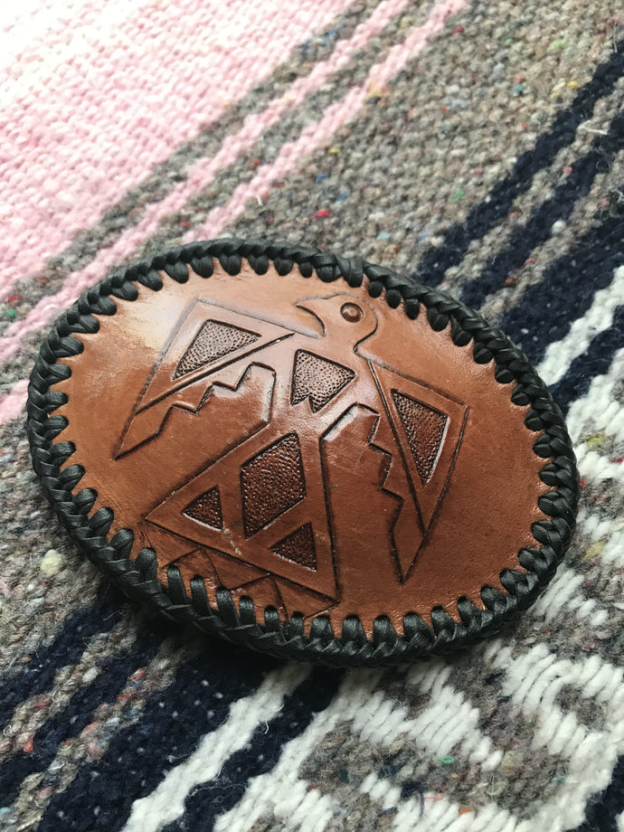 southwestern, native american, leather, belt buckle, hand crafted, vintage