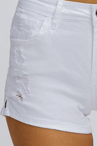 WHITE DENIM MID RISE SHORTS | distressed frayed pocket