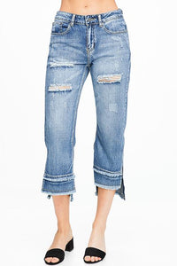 SLIT HEM BOYFRIEND JEAN | distressed, ripped and faded