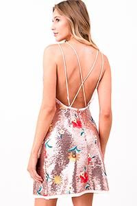 SEQUINED FLORAL DRESS | backless mini