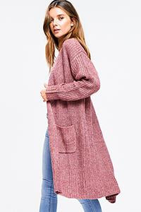 DUSTY MAUVE WAFFLE KNIT SWEATER | duster cardigan