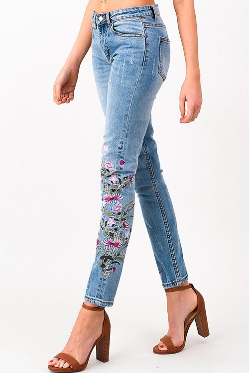 FLORAL EMBROIDERED STRAIGHT LEG | denim jean