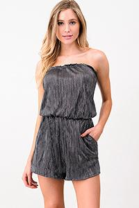 METALLIC STRAPLESS ROMPER | pocketed romper