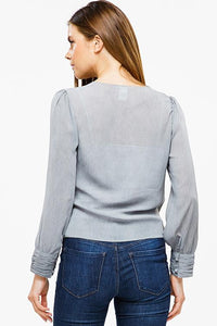 CUFFED SLEEVE RUCHED SIDE BLOUSE | long sleeve top