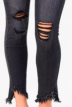CHARCOAL GREY HIGH RISE DISTRESSED | skinny jean