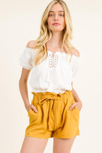 OFF SHOULDER PEASANT TOP | applique crop blouse