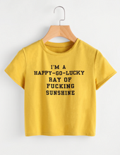 Short Sleeve Crop Tee - Ray Of Sunshine