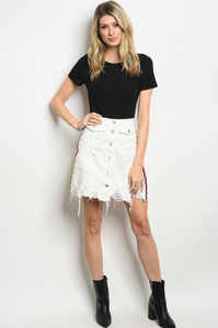 TAPE & BUTTON DOWN SKIRT | ivory distressed denim